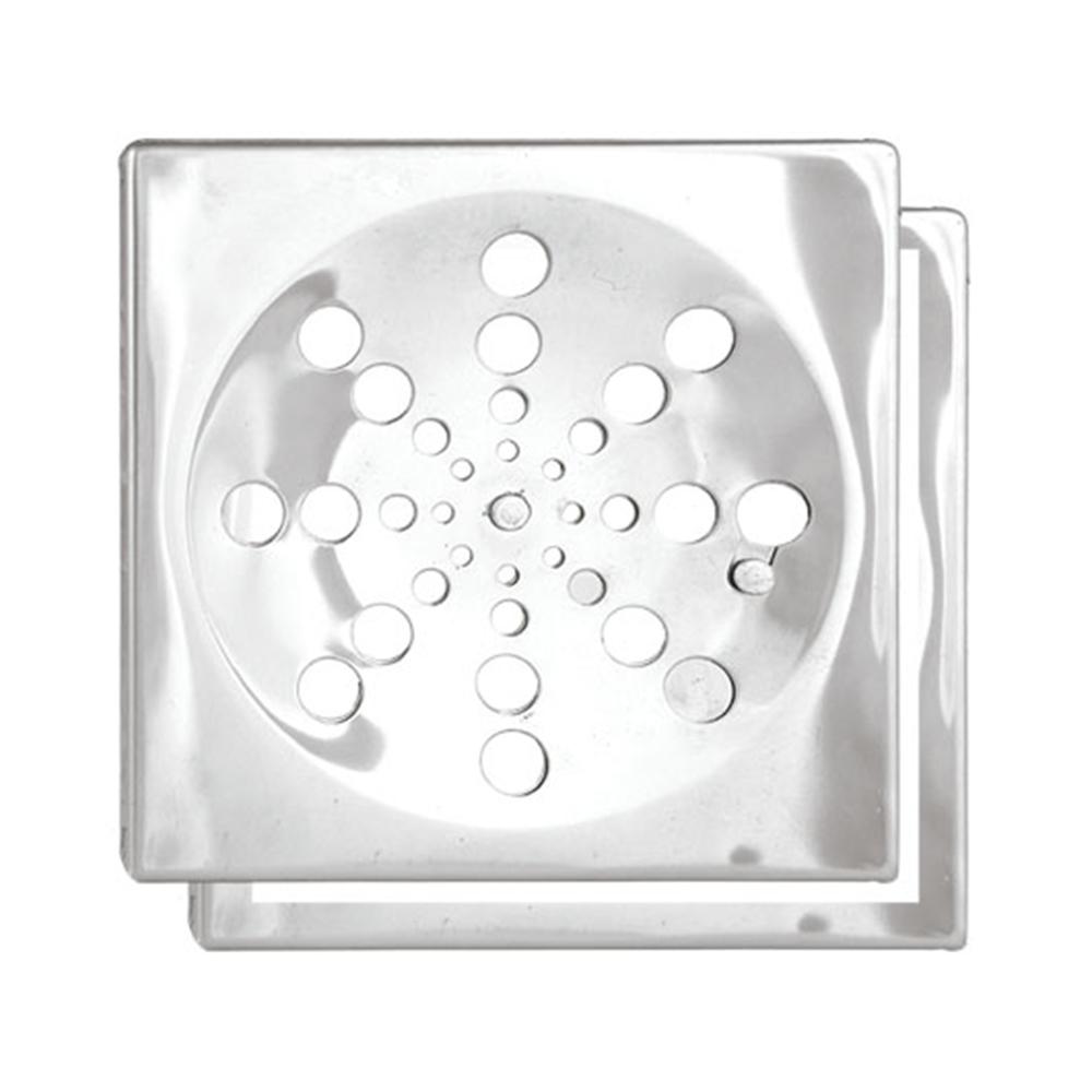 Ralo Romar Quadrado Inox c/ Fecho e Suporte 10cm 1660310 Cinza