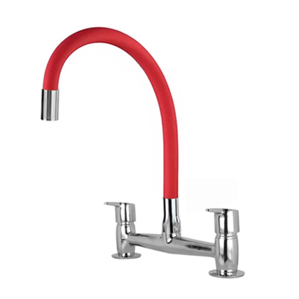 Misturador Romar Cozinha Mesa Bica Móvel Collorflex RED Easy 5258468 Cromado com Vermelho